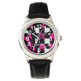 Personalized Hot Pink, Black and White Abstract Wristwatch