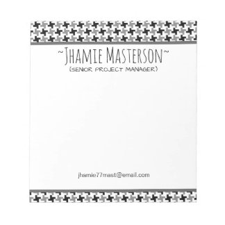 Personalized Houndstooth Notepad