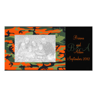 Personalized Hunter Orange Camo Frame Photocard Photo Greeting Card