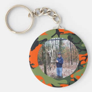 Personalized Hunter's Orange Camo Ring Photo Key Ring