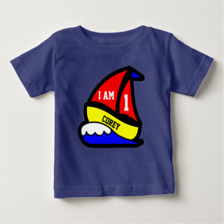 "Personalized ""I am 1"" with Red Sailed Boat Baby T-Shirt"