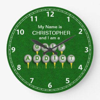 Personalized I am a Golf Addict Gifts Round Wallclocks