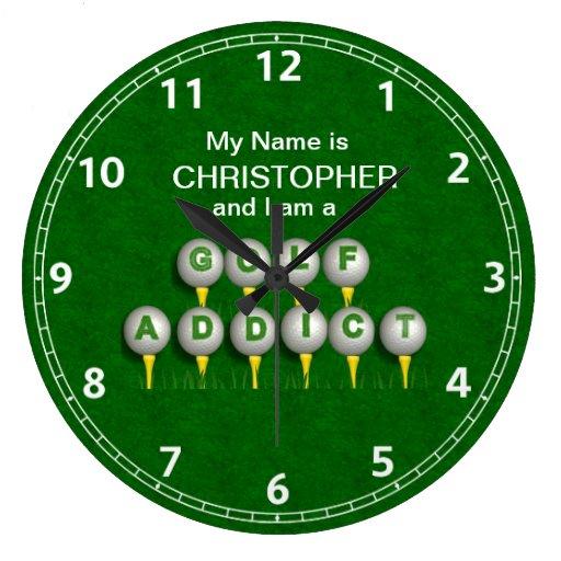 Personalized I am a Golf Addict Gifts Round Wallclocks