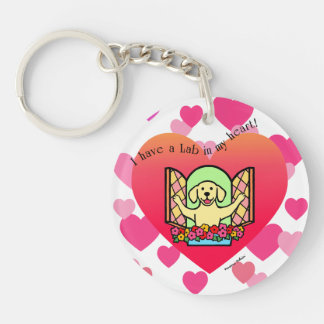 Personalized I have a Lab in my Heart (Yellow) Double-Sided Round Acrylic Key Ring