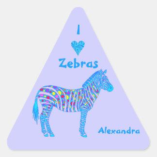 Personalized I Heart Zebras Pop Art Decals Triangle Stickers