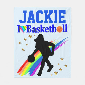 PERSONALIZED I LOVE BASKETBALL FLEECE BLANKET