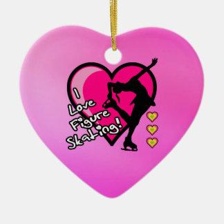 Personalized I love figure skating heart ornament