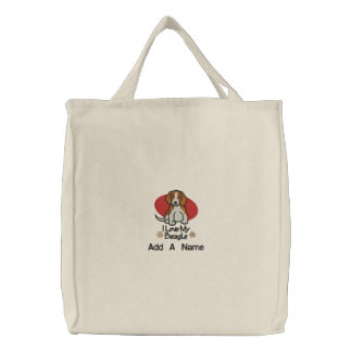 Personalized I Love My Beagle Tote Bag