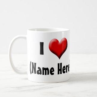 Personalized I Love... Name Valentine's Day Basic White Mug