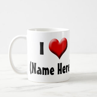 Personalized I Love... Name Valentine's Day Classic White Coffee Mug