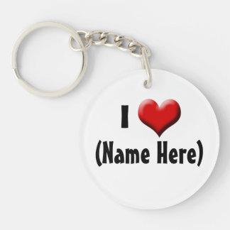 Personalized I Love... Name Valentine's Day Single-Sided Round Acrylic Key Ring