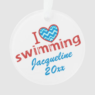 Personalized I love Swimming Holiday Ornament