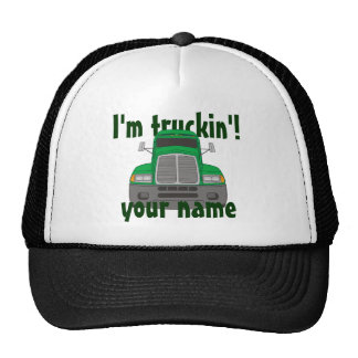Personalized I m Truckin Green Trucker Hats