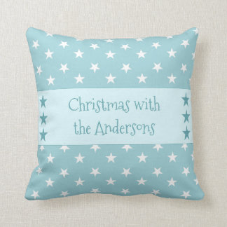 Personalized ice blue Christmas stars Cushion