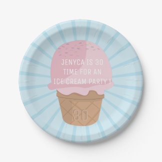 Personalized Ice Cream Party Paper Plate - add age