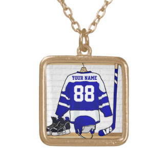 Personalized Ice Hockey Jersey Gold Plated Necklace