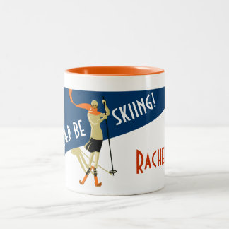 Personalized: I'd Rather Be Skiing! Vintage Skiers Two-Tone Coffee Mug