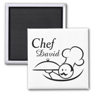Personalized Illustrated Chef Square Magnet