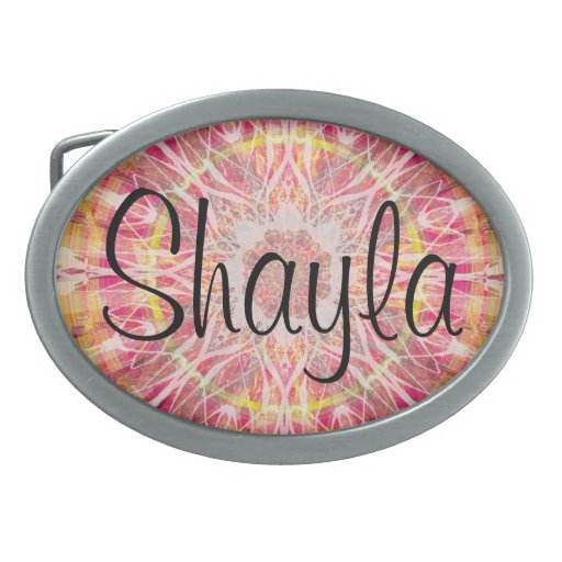 Personalized in Pink Oval Belt Buckles