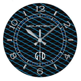 Personalized Industrial Mesh Blue Pearl Metallic Large Clock