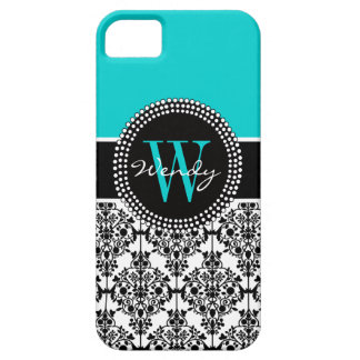 Personalized Initial Aqua Teal Black Damask iPhone 5 Cases
