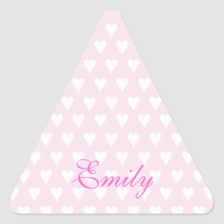 Personalized initial E girls name cute pink hearts Triangle Sticker