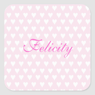 Personalized initial F girls name cute pink hearts Square Sticker