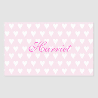 Personalized initial H girls name cute pink hearts Rectangular Sticker