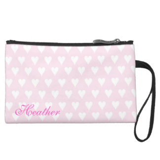 Personalized initial H girls name pink hearts Wristlets