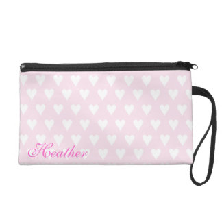 Personalized initial H girls name pink hearts Wristlet Clutches