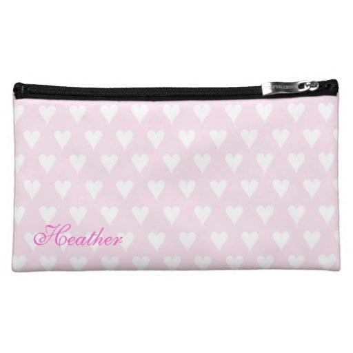 Personalized initial H girls name pink hearts Cosmetics Bags
