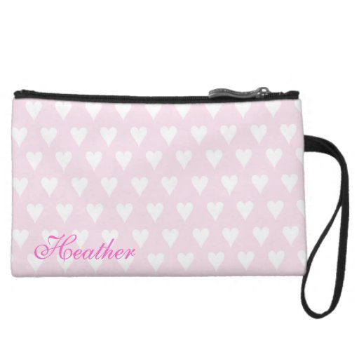 Personalized initial H girls name pink hearts Wristlet Clutch