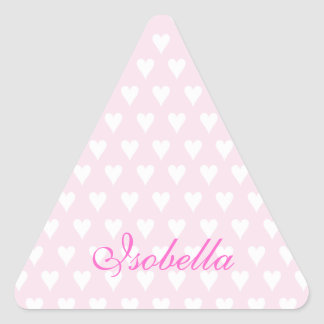 Personalized initial I girls name cute pink hearts Triangle Sticker