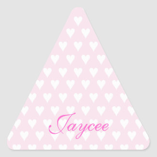 Personalized initial J girls name cute pink hearts Triangle Sticker