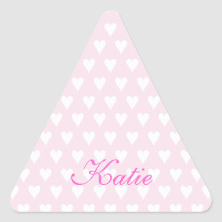 Personalized initial K girls name cute pink hearts Triangle Sticker