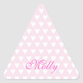 Personalized initial M girls name cute pink hearts Triangle Sticker