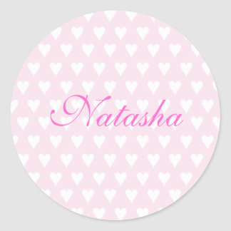 Personalized initial N girls name cute pink hearts Round Sticker