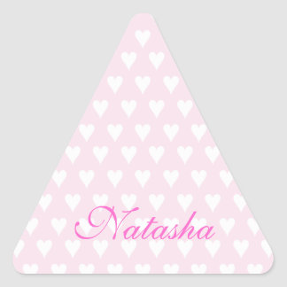 Personalized initial N girls name cute pink hearts Triangle Sticker
