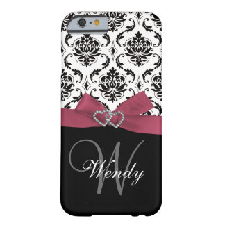 Personalized Initial, Pink, Black Damask Pattern Barely There iPhone 6 Case