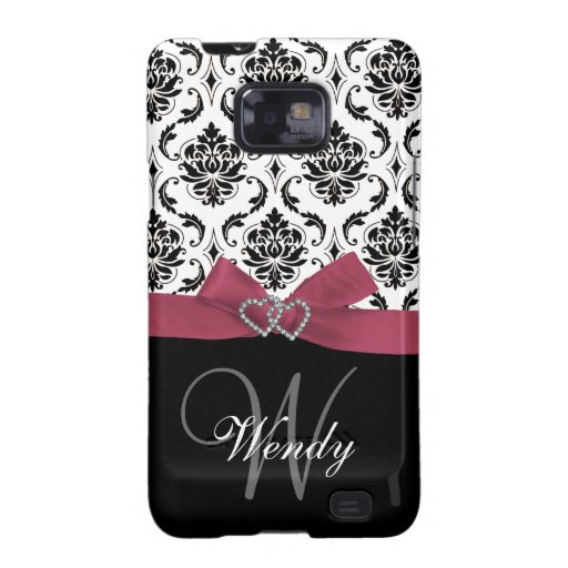Personalized Initial, Pink, Black Damask Pattern Samsung Galaxy S2 Cases
