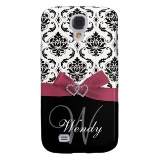 Personalized Initial, Pink, Black Damask Pattern Galaxy S4 Case