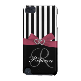Personalized Initial Pink Black Stripes Pattern iPod Touch 5G Cases