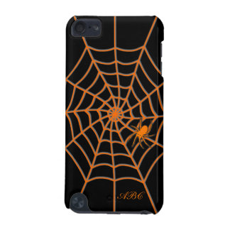 Personalized initials orange spider web black iPod touch 5G case