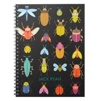PERSONALIZED INSECT BUGS BLACK LINEN NOTEBOOK