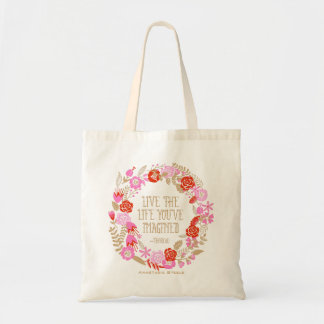 Personalized Inspiration Live Life Imagined Quote Tote Bags
