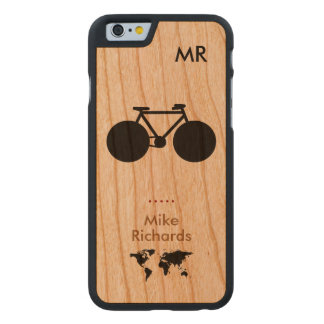 personalized iPhone 6 with black bike on wood Carved® Cherry iPhone 6 Slim Case