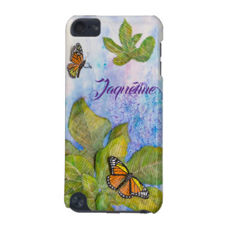 Personalized iPod Case with Butterfly & Leaves