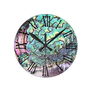 Personalized Iridescent Beautiful Natural Abalone Round Clock