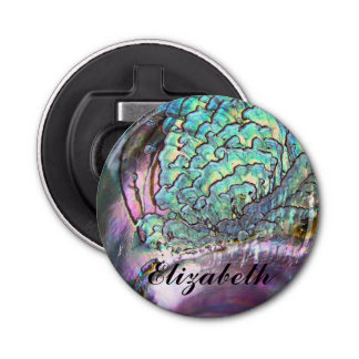 Personalized Iridescent Natural Abalone Name Bottle Opener