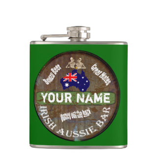 Personalized Irish Australian Pub sign Hip Flask